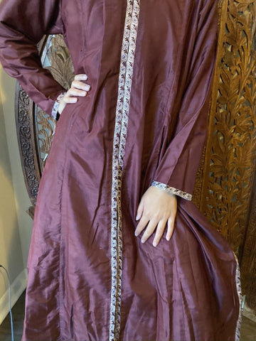 Womens Tunic Long Dress, Vintage wine color Silk Traditional Fashion Handmade Ethnic Long maxi Dresses ML - mogulgallery