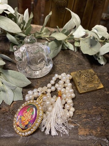 Sacred Ganesha Altar- Pearls Beads, Good Luck Meditation Japa Mala Yoga Necklaces, Crystal Ganesha Statue With Brass Meru Yantra - mogulgallery