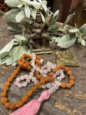 Rose Quartz Beads Rudraksha Mala Unconditional Love Heart Chakra Goddess Saraswati Playing Veena Religious Sculpture With Brass Meru Yantra - mogulgallery