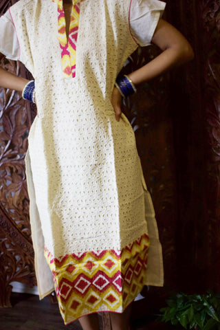 Womens Tunic Dress Beige Golden Cut Out Design Cotton gorgeous Luxe Style Summer Bohemian Kurti M - mogulgallery