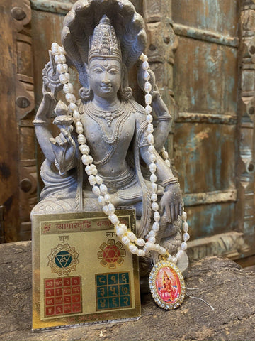 Stop Accidents Altar - Vahan Durghatna Nashak Yantra, Moon Pearls Mala Jewelry, Handmade Sacred Geometry, Brass Meru YAntra On Tortoise - mogulgallery