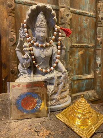 Spiritual Well Being Altar - Gayatri Yantra, Sri Yantra, Rudraksha Mala, Pearls Mala Jewelry Mala beads, Positive Energy, Sacred Geometry - mogulgallery