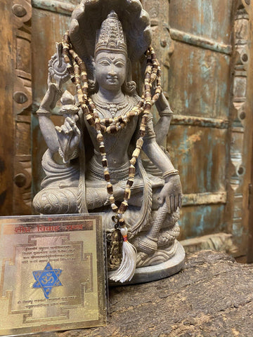 Early Marriage Altar-Shighra Vivah Yantra, Vishnu Pendant Prosperity Tulsi Japa Mala Beads Prayer Necklaces - mogulgallery