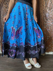 Womens Maxi Skirt, Black Blue Printed Flare Beaded Bohemian Summer Fall Indi Skirts M - mogulgallery