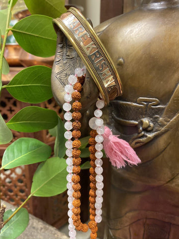 Yoga Mala Rose Quartz Beads Rudraksha Mala Unconditional Love Heart Chakra with HARE KRISHNA Adjustable Copper Cuff Bracelet Wrist Bracelet - mogulgallery