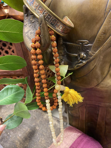 Yoga mala, Yellow Jade, Mala Beads,Mindful Living, Japamala Necklace, Yoga Mala, HARE KRISHNA Adjustable Copper Cuff Bracelet Wrist Bracelet - mogulgallery