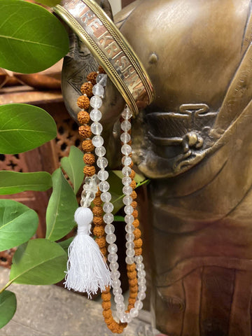Sphatik Shiva Shakti Yoga Mala Beads River Health and Spirituality Necklaces HARE KRISHNA Adjustable Copper Cuff Bracelet Wrist Bracelet - mogulgallery