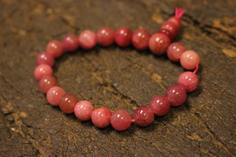 Ambition Sunstone Rose Quartz Rudraksha 108 Malabeads, Pink Jade Beaded Stretch Bead Bracelet, Yoga Jewelry - mogulgallery