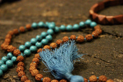 Yoga Kundalini with Rudraksha Turquoise Chakra Mala beads with Sun Stone Wrist Mala Pyramid shaped Bracelet for Enhance Your Energy - mogulgallery