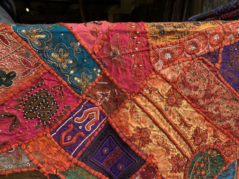 Sitara Ethnic Sari Tapestry Orange, red Indian WALL Decor Vintage Embroidered Patchwork Tapestry Wall Hanging - mogulgallery