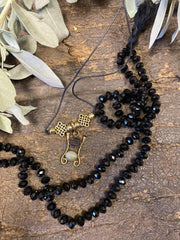 Saturn Black Crystal Mala With Pendant Handmade Mala, Natural Gem Stone Lucky Brass Pendant - mogulgallery