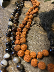 Protecting against negativity: evil eye pendant necklace, Rudraksha Mala Natural Tiger Eye Yoga Necklace Beads Handmade Mala - mogulgallery
