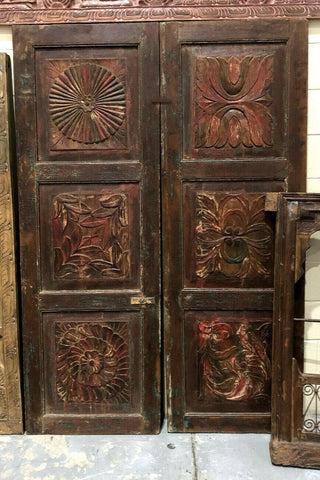 Antique Floral Lotus Holistic Doors, Carved Barndoors, 2 Farmhouse DOOR Panels Rustic Red OLD WORLD Teak Door 76.5 - mogulgallery