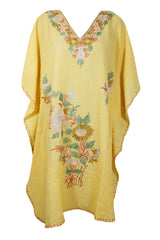 Womens Caftan Dress, Floral Kaftan, Yellow Caftan, Mid Calf Embroidered dress, For to be Moms, beach cover up, Sleepwear, Cotton Kaftan 2X - mogulgallery