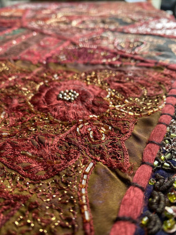 Sitara Ethnic Sari Tapestry red Indian WALL Decor Vintage Embroidered Patchwork Tapestry Wall Hanging - mogulgallery