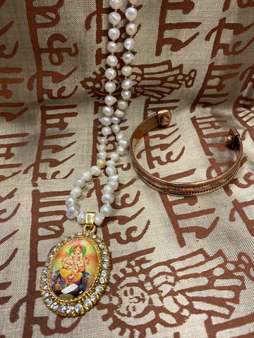Japamala Ganesha Yoga Necklace Pearls Beads, Good Luck Meditation Altar, Elephants Magnetic Copper Cuff Bracelet - mogulgallery