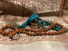 Meditation Mala Beads, Heart Chakra, Green Jade Rudraksha Energy Prayer Necklace OM NAMAH SHIVAYA Copper Adjustable  Ring - mogulgallery