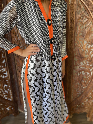 Womens Tunic Dress , Lounger, Boho Dress, BLACK White Printed Georgette Comfy Boho Long Handmade Tunic SM - mogulgallery