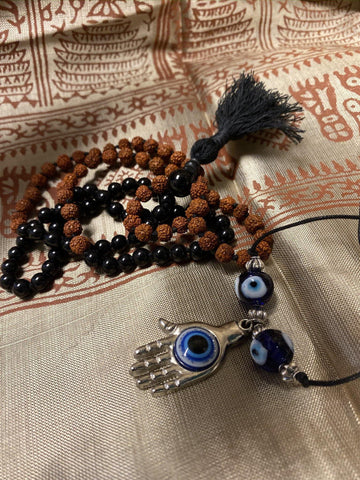 Protecting against Negativity: Evil eye Pendant necklace, Rudraksha Black Onyx Mala Beads Necklace Beads Handmade Mala - mogulgallery