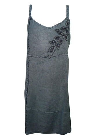 Womens Gray Sleeveless Dress, Vintage rEtro 70s Shift Dress Front Embroidered Boho Chic Gypsy Dresses - mogulgallery