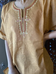 Womens Tunic Top, Beige Hand Embroidered Tunic Fall Fashion Bohemian Cotton Blouse M - mogulgallery