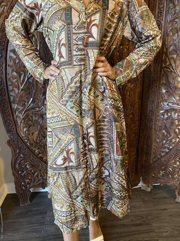 Womens Tunic Maxi Dress , Vintage Retro Paisley Beige Green Printed Long Tunic , Bohemian Chic Midi Dresses Ethnic ML - mogulgallery