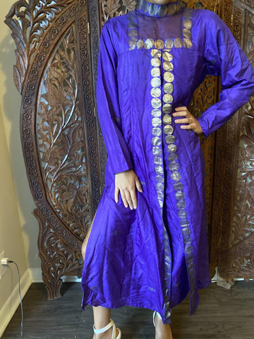 Womens Indi Boho Tunic Long Dress, Vintage Royal Blue Gold Silk Traditional Fashion Handmade Long maxi Dresses ML - mogulgallery