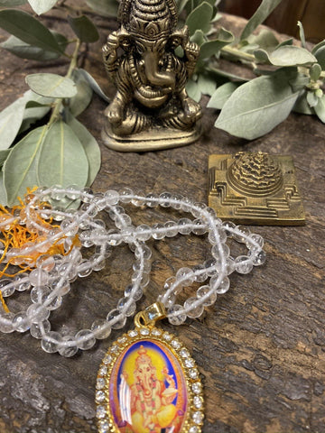 Ganesha Altar- Crystal Quartz Rudraksha Mala Beads, Meditation Japa Mala Yoga Necklaces,Vintage Ganesha Sculpture With Brass Meru Yantra - mogulgallery
