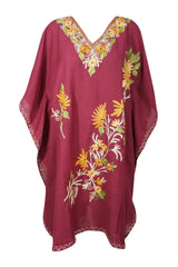 Womens Caftan Dress, Loose Beach Mid Length dress, Cotton Red Floral Embroidered Dresses, Resort Wear, Housedress Kaftan 2XL - mogulgallery