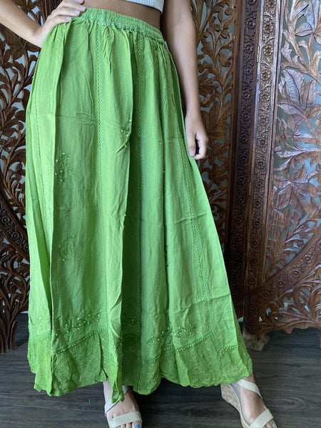 Womens Maxi Skirts, Green Stonewashed Summer Skirt, Embroidered Bohemian Skirt, A-line Peasant Skirts S/M - mogulgallery
