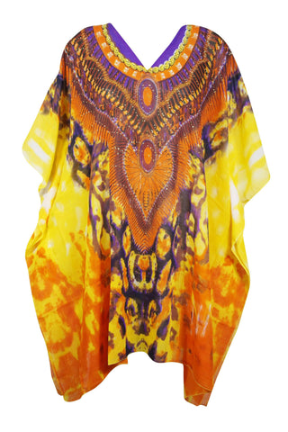 Womens Caftan Dress, Purple Orange Print Kimono Sleeves Knee Length Georgette Beach Cover Up Resort Wear 4X - mogulgallery