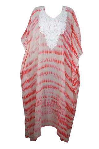Womens Kaftan Maxi Dress, Embroidered Kaftan Gown ,Pink White Tie Dye Lounger, Beachwear Sheer Bikini Coverup Maxi Dress 4X - mogulgallery
