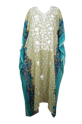Womens Caftan Maxi Dress, Lounger, Caftan, Teal Blue Beige Printed Kimono Caftan Dress, Georgette Embroidered Resort Wear 4X - mogulgallery