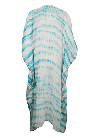 Womens Kaftan Maxi Dress, Embroidered Kaftan Gown , Blue White Tie Dye Lounger Sunset Boho Dress, Handmade Housedress 4XL - mogulgallery
