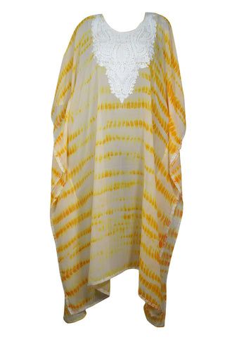 Womens Kaftan Maxi Dress,Beachwear Sheer Bikini Coverup Maxi Dress, Embroidered Kaftan Yellow White Tie Dye Lounger 4X - mogulgallery