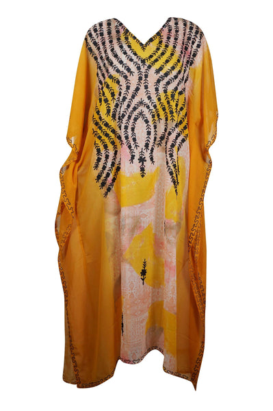 Womens Caftan Maxi Dress, Lounger Caftan Dress, Orange Beige Printed Kimono Caftan Dress, Georgette Embroidered Resort Wear ONESIZE L/4XL - mogulgallery