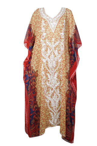 Womens Kaftan Maxi Dress, Halloween Bohemian Embroidered dress, Bohemian Summer Dress 4X - mogulgallery