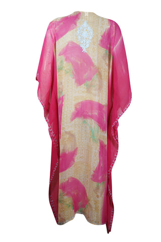 Womens Caftan Maxi Dress, Pink Sherebet Floral Embroidered kaftan Dress, boho maxi dress, Holiday Gift  4X - mogulgallery