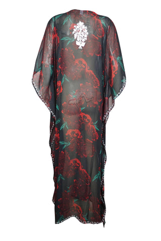 Womens Kaftan Maxi Dress, Black Red Rose Printed Sheer Dress, Georgette Embroidered Resort Wear Dresses 4X - mogulgallery