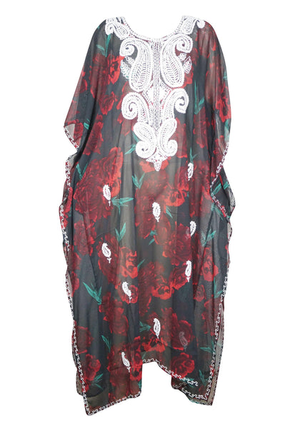 Womens Caftan Maxi Dress, Caftan, BOHO GODDESS, Black Red Floral Kimono Kaftan Dress, Georgette Embroidered Resort Wear 4XL - mogulgallery