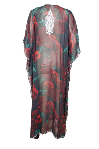 Womens Kaftan Maxi Dresses, BOHO GODDESS, Black White Floral Embellished Caftan Lounger, Resort Wear, Housedresses 4X - mogulgallery