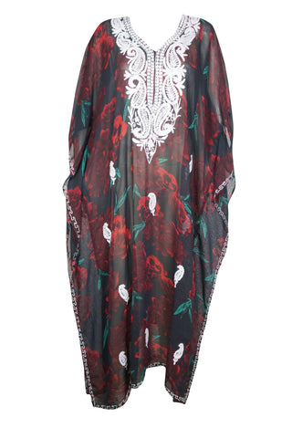 Women Kaftan Maxi Dress Loose Flowry , Swimsuit Bikini Cover Ups Embroidered Casual Beach Caftan Maxi Dresses 4XL - mogulgallery