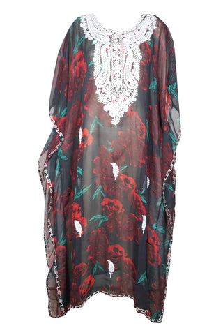 Womens Maxi Caftan Dress, Summer Holiday Kaftan Boho Style Comfy  Rose Floral Print Kimono Sleeves Beach Cover Up Plus Size L-4X - mogulgallery