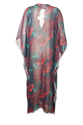 Womens Maxi Caftan Dress, Boho Style Comfy  Rose Floral Print Kimono Sleeves Beach Cover Up Resort Wear Summer Holiday Kaftan Plus Size L-4X - mogulgallery