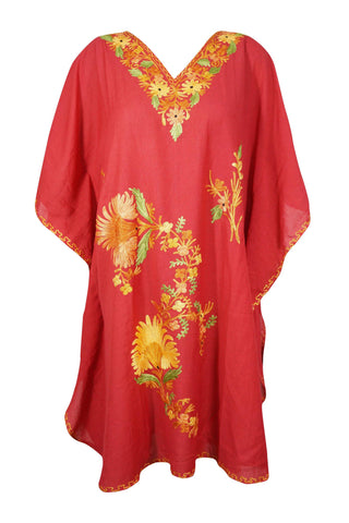 Womens Caftan Dress, Red embroidered Kaftan Dress, Knee Length Boho Kaftan Dresses, Caftans for women, Summer Kaftan, Cotton Boho caftan, 2X - mogulgallery