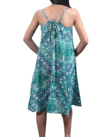 Bohemian Short Dress Sleeveless Printed Gypsy Boho Flared Summer Beach Dresses M FINAL SALE - mogulgallery