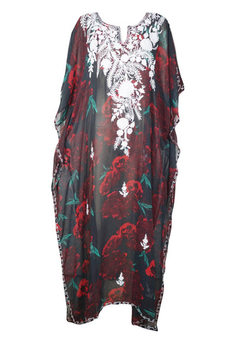 Womans Kaftan Maxi Dress, Flowy Colorful Maxi Dresses Caftan, Black Red Casual House Dress Loose,Beach Dresses ONESIZE L/4X - mogulgallery