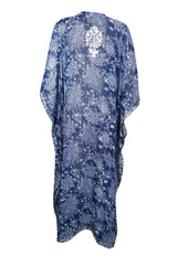 Womens Kaftan Maxi Dress, Blue White Printed Summer Fashion Dress, Georgette Embroidered Resort Wear Dresses ONESIZE L/4X - mogulgallery