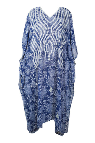 Womens Caftan Maxi Dress, Georgette Embroidered Caftan, Resort Wear, Beach Cover up, Blue Printed Beach Kimono Kaftan Dress, One Size, M-4X - mogulgallery