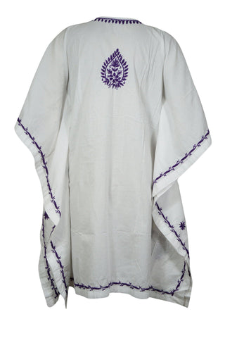 Womens Kaftan Dresses, Daisy White Purple Tunic Dress Kaftan Paisley Embroidered Cotton Short Beach Caftan S/M - mogulgallery